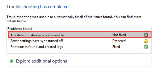 Default Gateway is Not Available Error