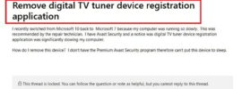 Digital TV Tuner Device Registration Application Error
