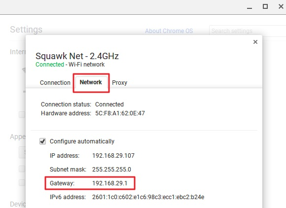 Find the Router's IP Address on Chrome OS