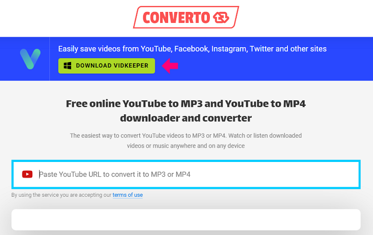 Converto Free online YouTube to MP3 and YouTube to MP4 downloader and converter
